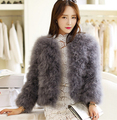 2016 hot sale sweetangel Ostrich wool fur wool Large size women coat feather fur women jacket womens winter jackets and coats