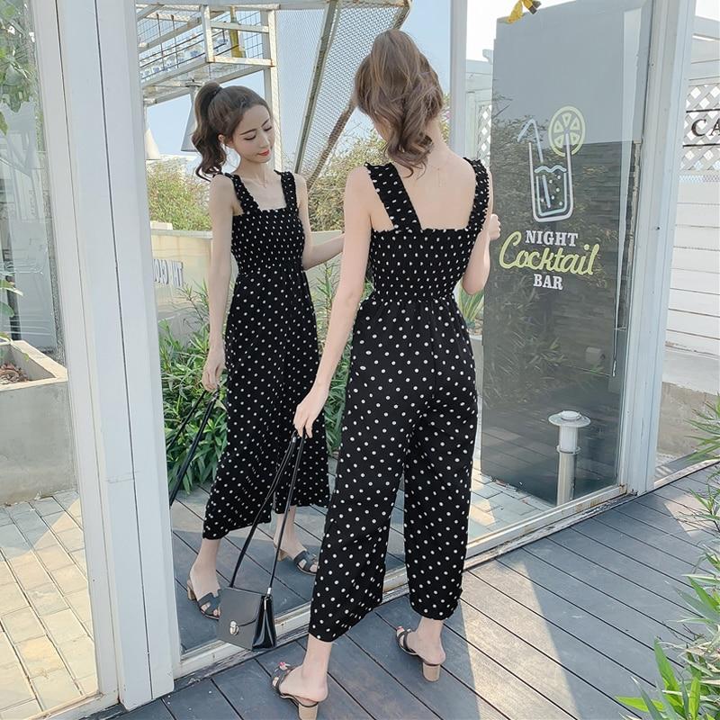 European Women Jumpsuits Casual Loose Wide-leg Sexy Polka Dot Woman Bodysuit Plus Size Rompers Womens Jumpsuit Combinaison Femme Price $25.99
