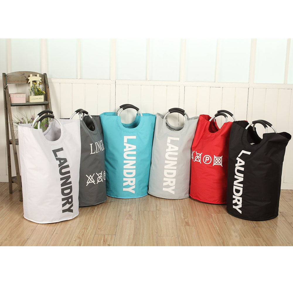 Pop Up Laundry Bag Foldable Basket Large Hamper Oxford Cloth Alloy Round Handles Storage Washing Organize
