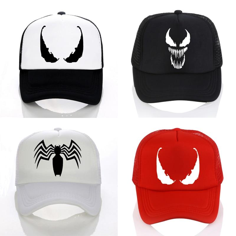 New Men Women Venom   Baseball     Caps   Hat Black SpiderMan Hip Hop Cool Venom Mesh   Caps   Venom Summer Seaside   Cap   Hat for Men Youth