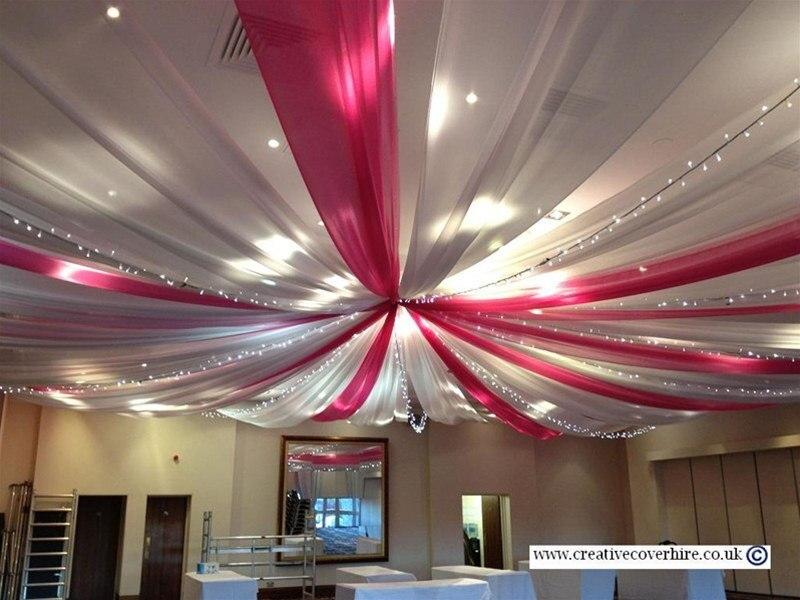 10 pcs 15 m w 10 m l tissu transparent en mousseline de soie tissu - Drap Plafond Mariage