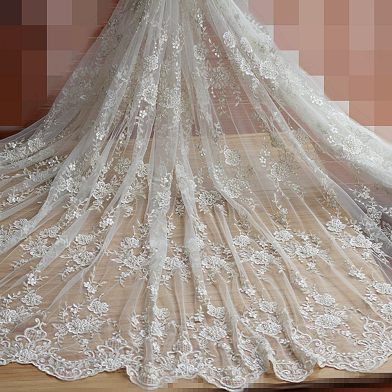 Ivory Alencon Lace Fabric Floral Pearl Beaded Sequined Wedding Lace Fabric With Luxury G ...