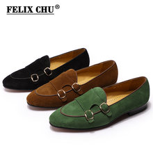 FELIX CHU Heren Suède Loafers Heren Wedding Party Casual Slip Op Schoenen Zwart Bruin Groen Monnik Band Mannen Jurk Schoenen lederen(China)