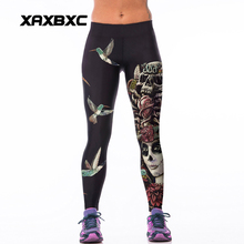 011 High Waist Workout Silm Fitness Women Leggings Elastic Pants Trousers Sexy Girl Fashion Skull Queen