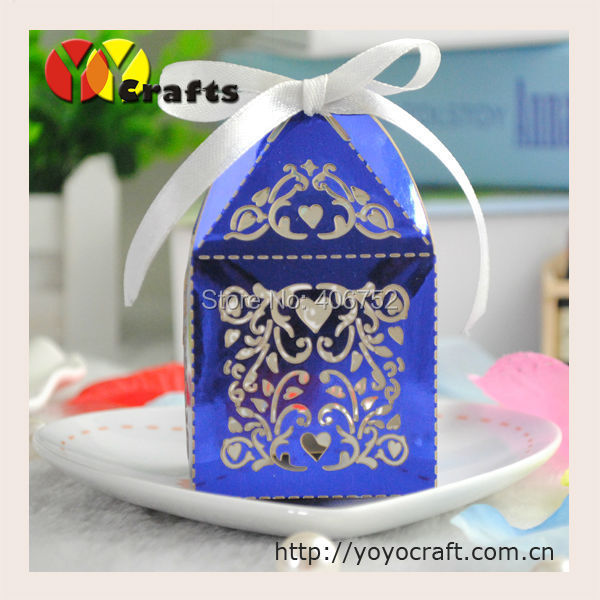 Metallic Blue Laser Cut Party Wedding Favors And Gifts Box With Free Logo Eid Mubarak In Gift Bags Wring Supplies From Home Garden On