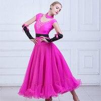 Modern Dance Dress Short Sleeve Pearl Ballroom Dancing Dress Waltz Train Dance Rhinestones decoration one piece dress