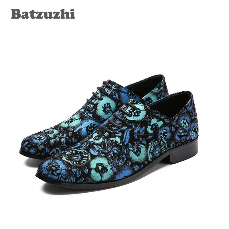 Batzuzhi Blue Suede Men Shoes for Wedding and Party Loafers Men Dress Shoes Men's Flat Lace up Male Casual Zapatos. EU38 46