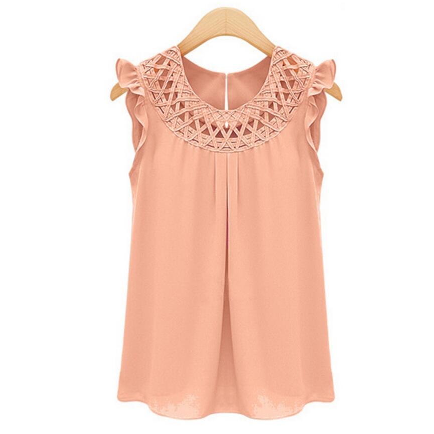 Verano Llegada Blusas Camisa 2019 Vintage Moda Mujer Gasa Nueva De pink Tops Sin Cuello Mujeres yellow green White Mangas vwd7qS