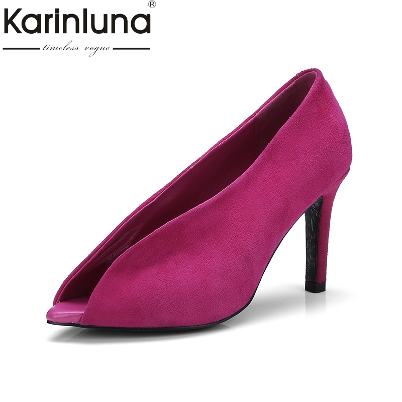 KarinLuna 2018 fashion genuine leather slip on super thin high Heels peep toe black white Party Pump Shoes Woman Size 33-40 lapolaka 2018 high quality large size 33 48 slip on thin high heels peep toe shoes woman platform party wedding pump