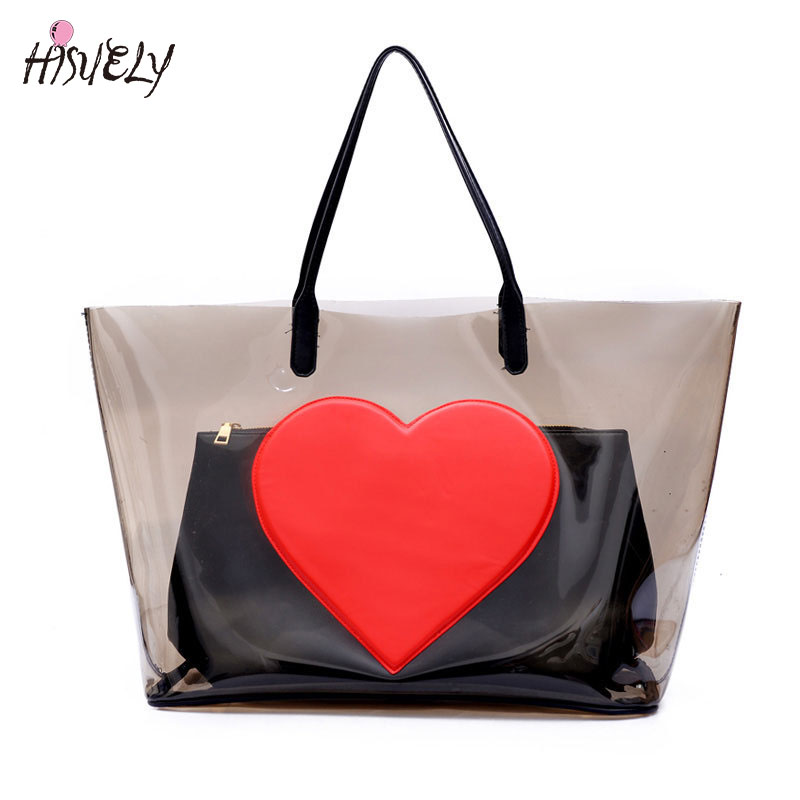 2019 neue Mode Sommer Strandtasche PVC Klar Transparente Taschen Handtaschen Frauen Frauen Umhängetaschen Große Kapazität Verbund Tasche Set