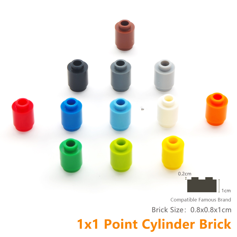 Cylinder Bricks 1X1 Building Blocks Bricks DIY Learning font b Toys b font Compatible With Famous