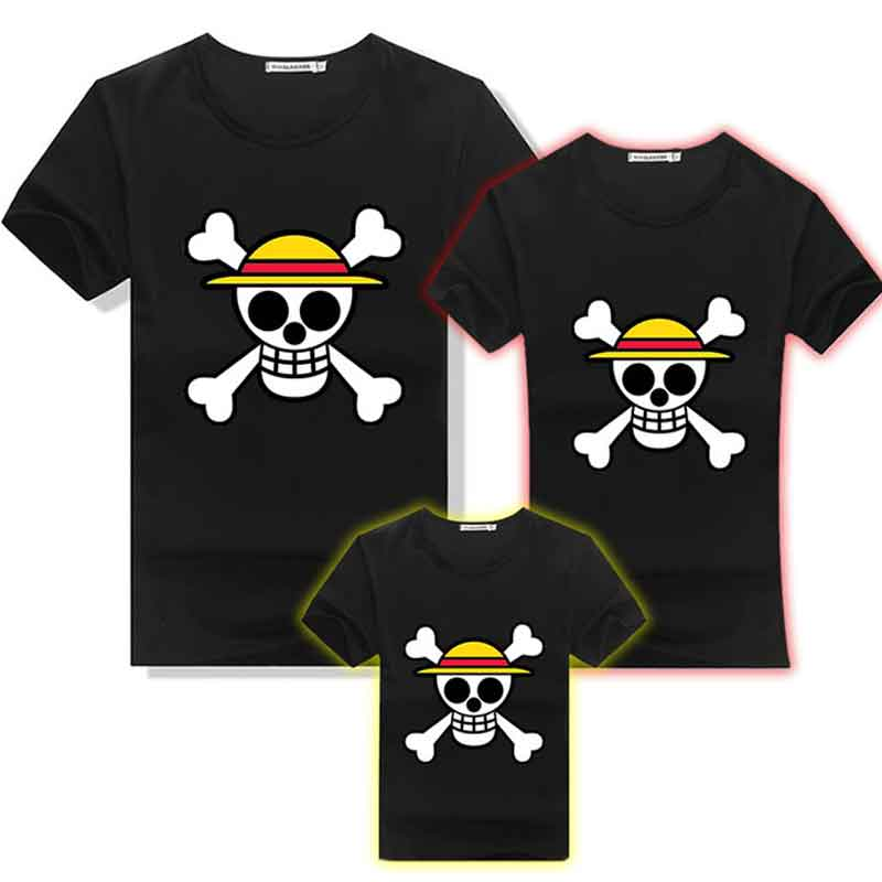 Anime One Piece Luffy Jolly Roger Pirates Skulls Cotton T-shirt Household Matching Outfit Mans Girls Children Parentage Tee Shirts Tops Matching Household Outfits, Low-cost Matching Household Outfits, Anime One...