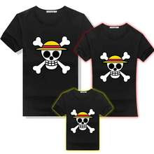 Anime One Piece Luffy Jolly Roger Pirates Skulls Cotton T-shirt Family Matching Outfit Mans Women Kids Parentage Tee Shirts Tops