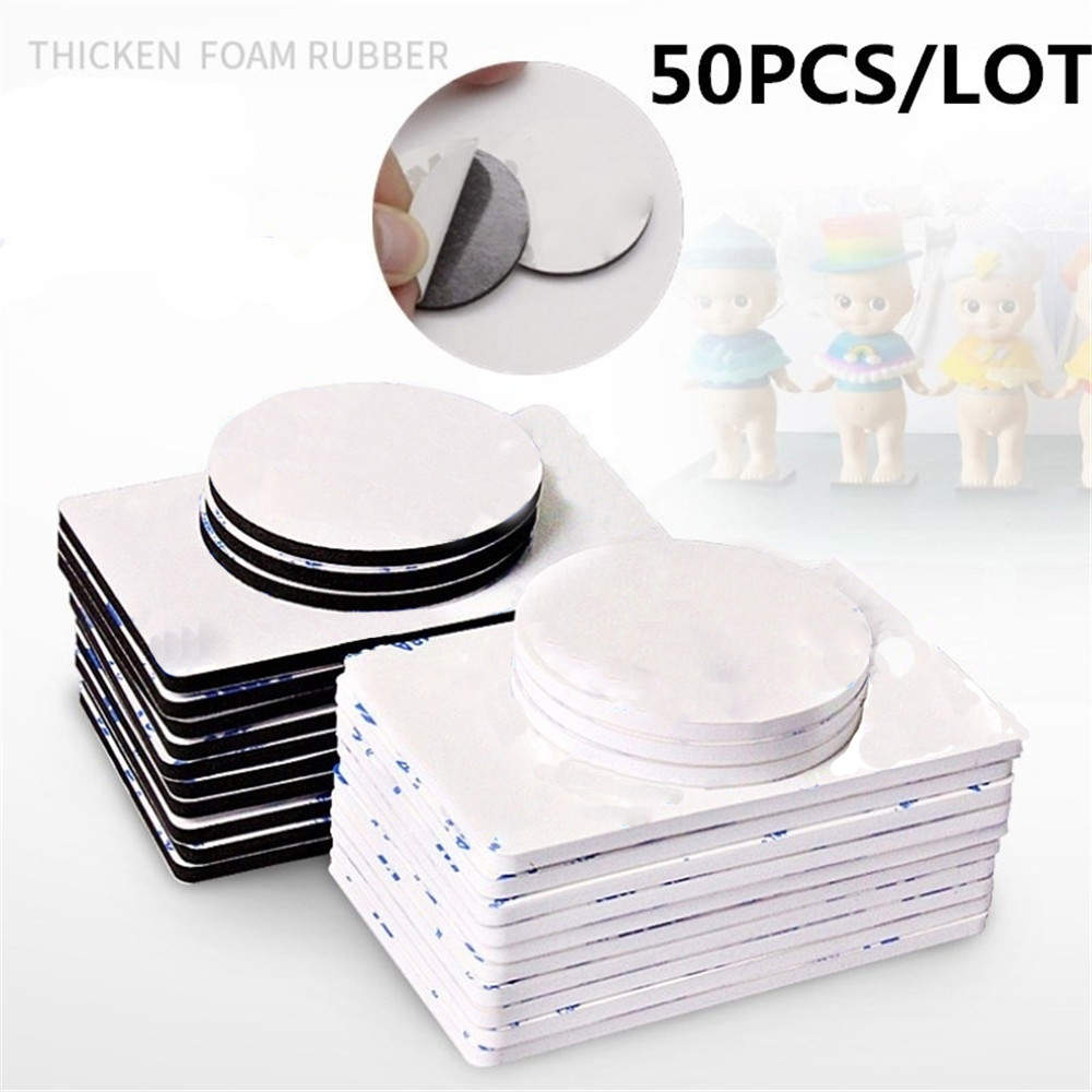 50pcs Double Sided Black Foam Tape Strong Square Car & Home Use Adhesives Mounting Adhesive High Temperature Resistance