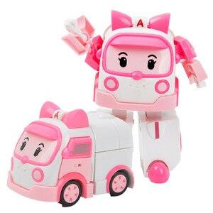Image 4 - 6 개/대 한국 완구 robocar poli 변환 로봇 poli amber roy 자동차 모델 애니메이션 액션 피규어 어린이를위한 최고의 선물