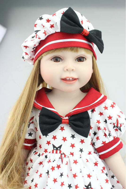 18 Inch Newest Vinyl Dolls Girl Doll with Dress and Hat,Lovely Princess Doll Toys for Children Christmas Gift lifelike american 18 inches girl doll prices toy for children vinyl princess doll toys girl newest design