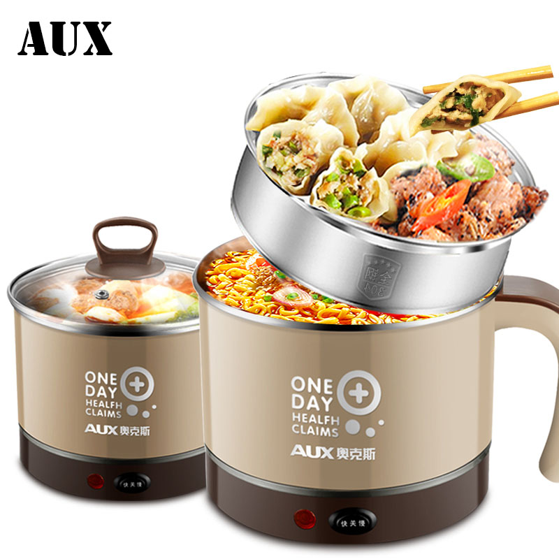 AUX 1.5L Multicooking Safty Stainless Steel Electric Hot Pot Cooker Multi Cooker Appliance Heating Stew Soup for Students stainless steel electric double ceramic stove hot plate heater multi cooking cooker appliances for kitchen 220 240v vde plug