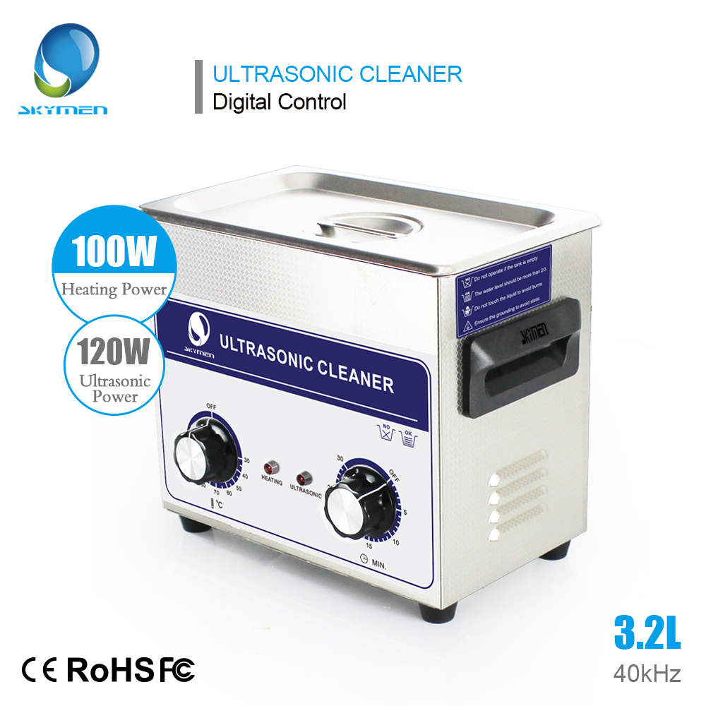 SKYMEN 3.2L 120 W nettoyeurs à ultrasons bouton de contrôle minuterie chauffage bain paniers en acier inoxydable pour le lavage des pièces de bijoux nettoyeur de prothèse dentaire