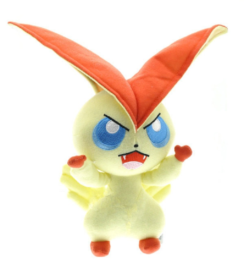 Free Shipping 2 Style Victini Pokemon Plush Soft Stuffed Toys Cute Collective Doll Christmas Gift For