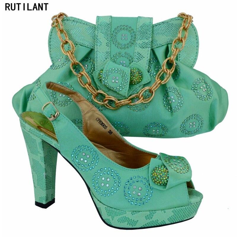 Sistemas Mujeres Boda Los rosado amarillo Rhinestone Bolsas A Del Color Zapatos De Decorarted Amarillo Últimas Bolso Nigeriano Italianos Verde Con Juego O6PnwZ