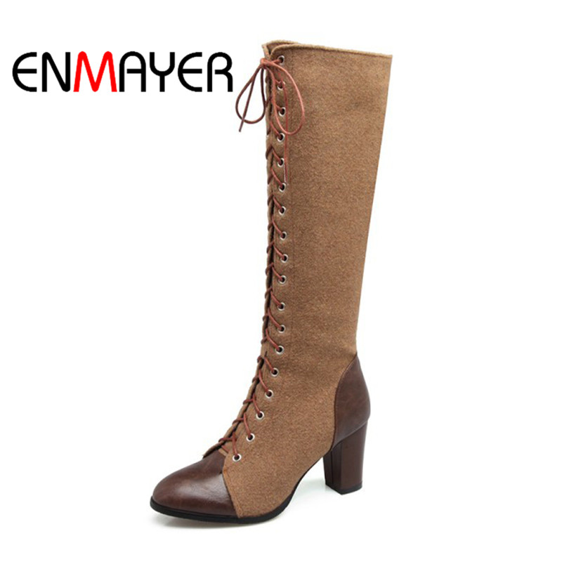 ENMAYER Women Mixed Colors PU Shoes knee High Heels Pointed Toe Square Heels Cross tied Fahion