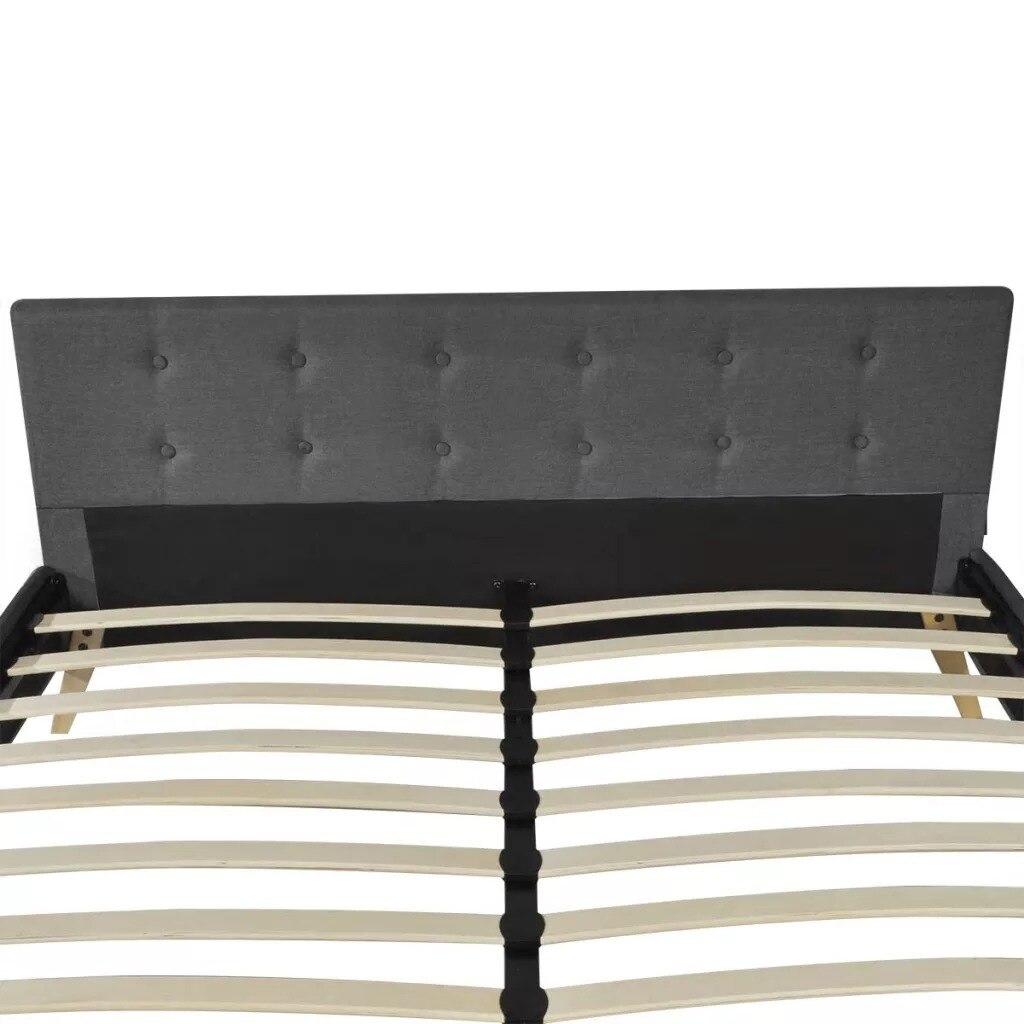 VidaXL bois de lit gris foncé avec rembourrage en tissu lit intérieur élégant et robuste MDF + lattes en contreplaqué + pieds en bois de peuplier - 3