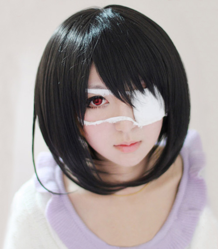 Another Mei Misaki Short Black Styled Heat Resistant Hair Cosplay Costume Wig + Optional Eye Patch