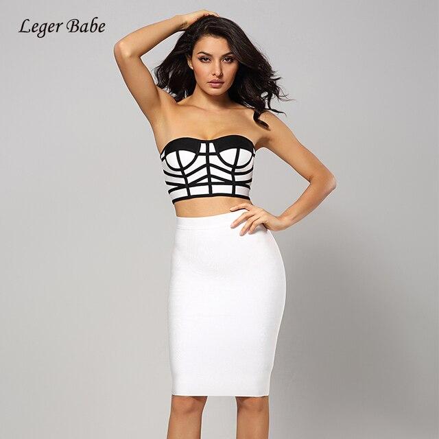 Leger Babe Fashion Nova Sexy Strapless 2 Two Pieces Sets Crop Top Bandage  Pencil Dress Slim 34b31904b844