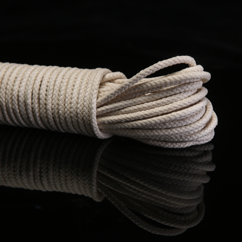 Cuerda 4mm Natural Braided Cotton Rope Wax Cotton Cord with Core Strong DIY Handwork All-Purpose Clothesline Rope