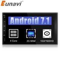 Eunavi 7 2 Din Android 7,1 1024*600 HD в тире автомобиля коснитесь Планшетные ПК 2din универсальный gps навигации радио стерео аудио плеер без cd