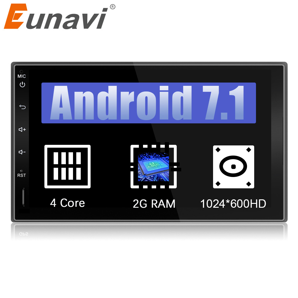 Eunavi 7 2 Din Android 7.1 1024*600 HD in dash Car Tap PC Tablet 2din Universal GPS Navigation Radio Stereo Audio Player no cd 7 android 8 0 8octacore px5 4gram 32grom car no dvd radio 2din universal gps navigation stereo audio hd 1024 600 wifi bluetooth