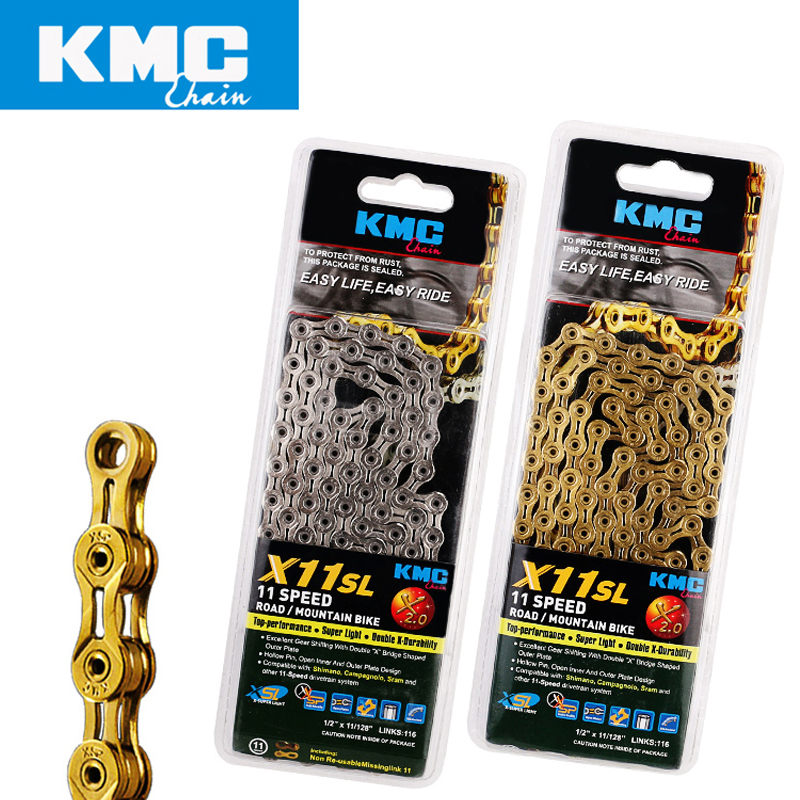KMC X11SL gold silvery bicycle chain 11 speed 116 links quick link full hollow 242g MTB