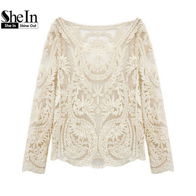 980c8777ad9282 SheIn Summer Style Beige Long Sleeve Hollow Out Crochet Lace Blouse Female  Boat Neck Curved Hem