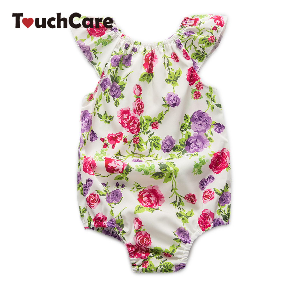 Touchcare Flying Sleeve Baby Clothes Newborn Rose Floral Baby Girl Romper Jumpsuit Infant Baby Rompers Infantil Summer Clothing penguin fleece body bebe baby rompers long sleeve roupas infantil newborn baby girl romper clothes infant clothing size 6m