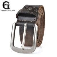 Hello Guoguo Vintage Belts Jean Accessories D Shape Pin Buckle Soft Cow Leather Trendy Streak Sew