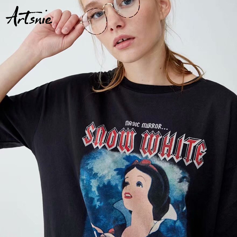 Artsnie Character Casual Streetwear T Shirts Women Summer 2019 O Neck Short Sleeve Knitted Tops Female Loose Black T-shirts Tees