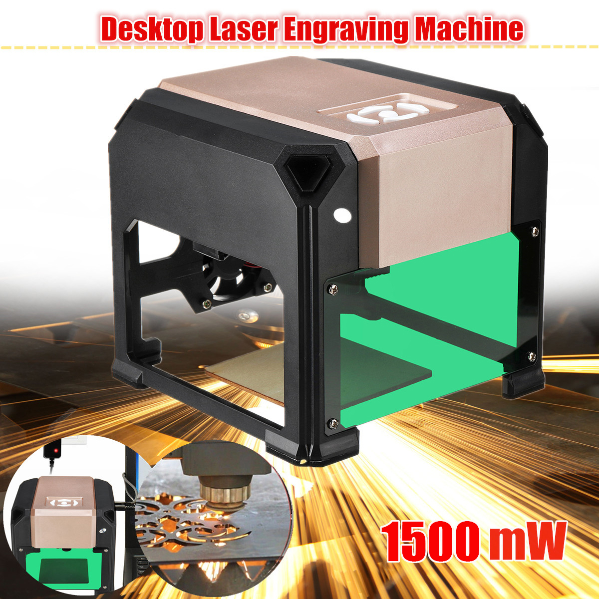 1500mW Golden Desktop Laser Engraving Machine Logo Marking Engraver Wood Router Laser Carving Machine Woodworking Machinery 10w laser engraver metal laser marking machine cnc router with 140 200mm engraving area for stainless steel aluminum marking
