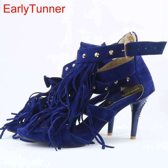 Brand New Sale Sexy Women Tassel Sandals Blue Black Purple Red Ladies High Heel Rivets Fringe Shoes AY102 Plus Big Size 32 43 10