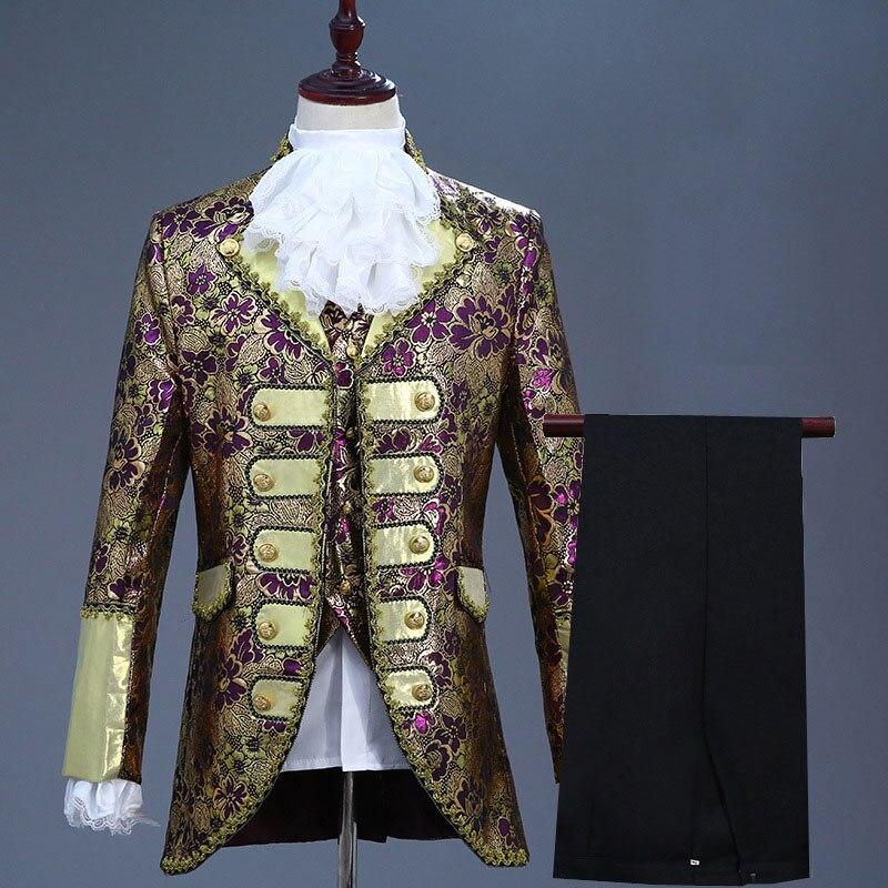 18th القرن المحكمة الأوروبية الرجال ثلاث قطع الدعاوى ملهى ليلي الأزهار التطريز الأداء سترة زي (سترة + السراويل + سترة)-في بدلة من ملابس الرجال على  مجموعة 3