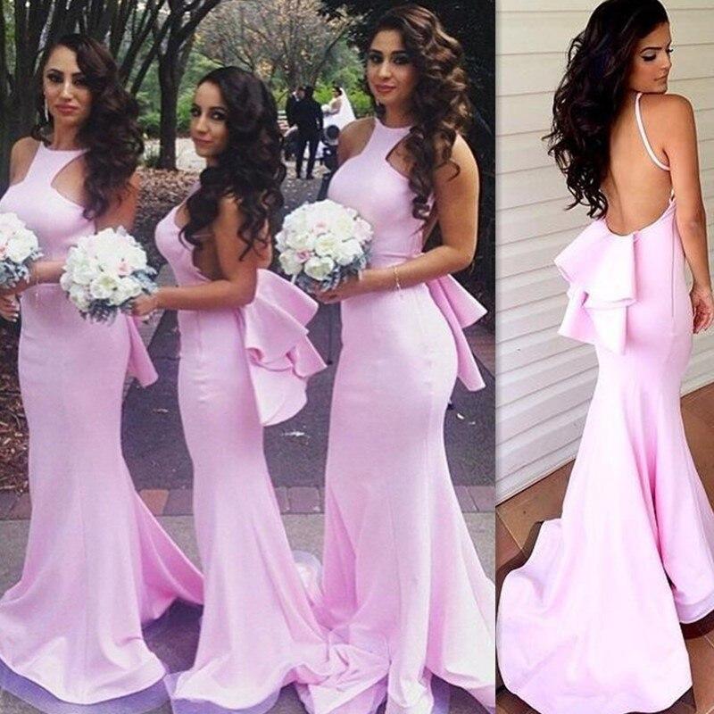 Vestido madrina de casamento pink dama de honor vestidos sin espalda correas esp