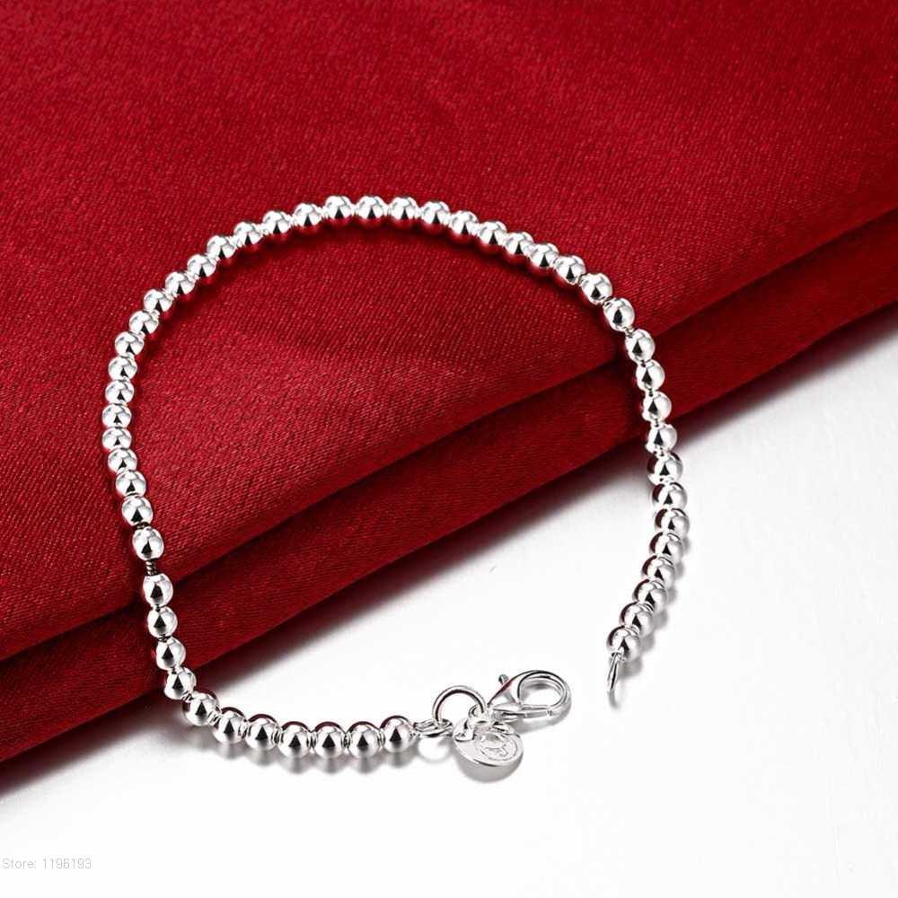 Men's Bracelet Silver 925 Jewelry 20cm Slim Thin Snake/Beads/Box/ twist Rope Chains bracelet bangle Pulseira de Prata 9 Styles