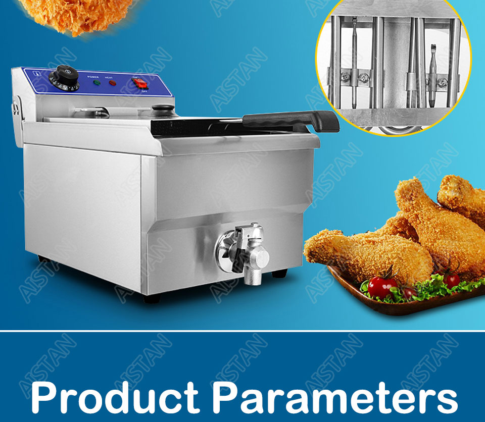 EF101V stainless steel electric deep fryer fried chicken fried potato chips for kitchen appliance 12
