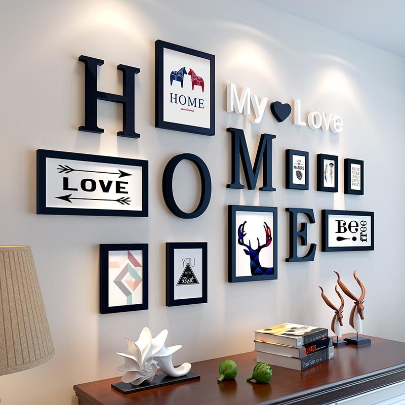 Европейский стиль домашний дизайн Свадебная любовь фоторамка украшение стены деревянная фоторамка набор настенная фоторамка набор, белый черный - 3