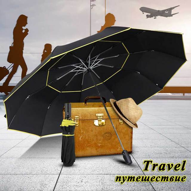 120CM Fully-Automatic Double Big Umbrella Rain Women 3Folding Wind Resistant Large Umbrella Men Travel Business Car Umbrellas
