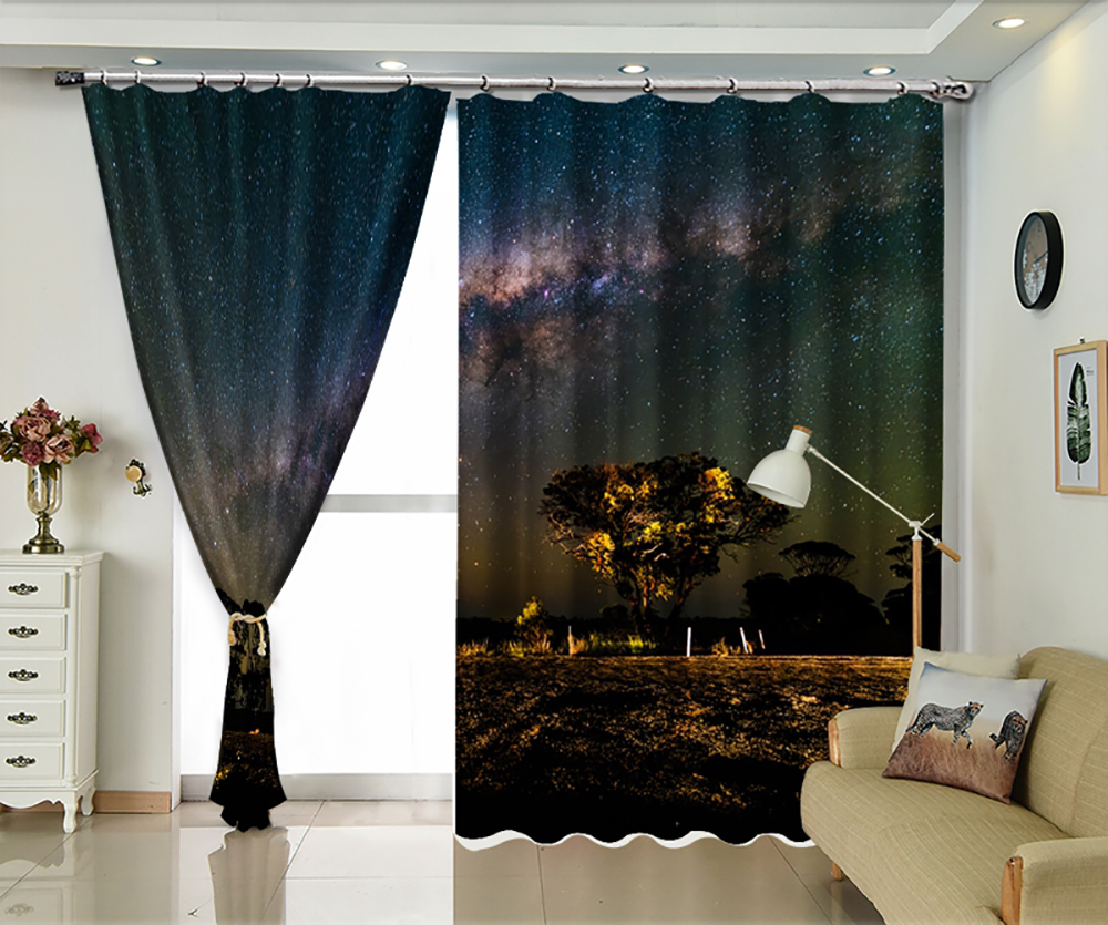 Tranquility Night Star Personality Sun Shade Curtain 3D Image