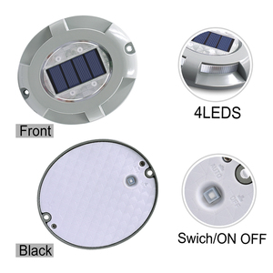 Image 2 - Solar Road Stud Lighting Aluminum 4 LED Outdoor Road Driveway Dock Path Ground Light Lamp Warm White And White Light