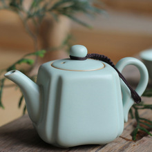 Light blue Chinese tea pot  handmade ceramic teapot simple and classical traditional china culture art porcelain