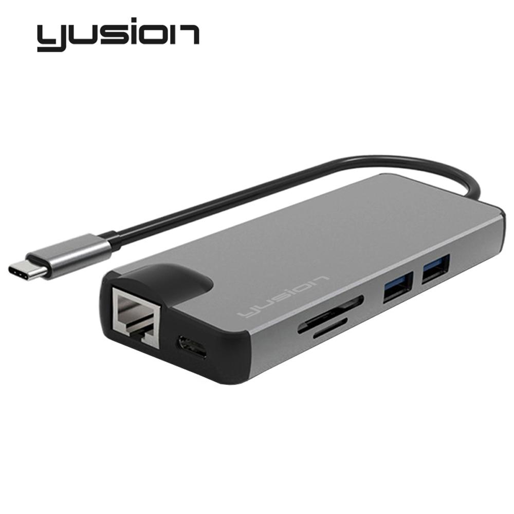 Yusion Type-C USB-C 3.1 to RJ45 Ethernet Port HDMI VGA Adapter HD 4K 1080P With USB3.0 SD/TF Card Slot Converters For Macbook телевизор 28 samsung lt28e310ex hd 1366x768 vga usb hdmi черный