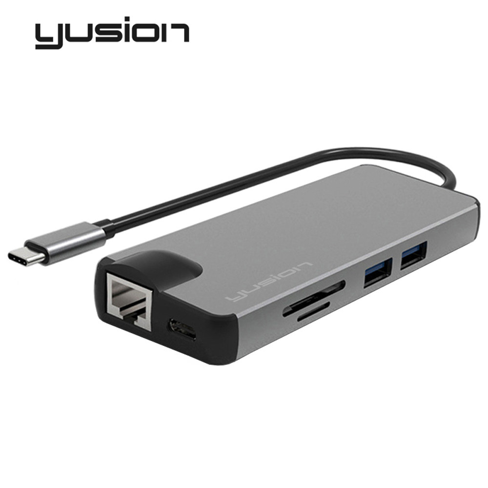 Yusion Type-C USB-C 3.1 to RJ45 Ethernet Port HDMI VGA Adapter HD 4K 1080P With USB3.0 S ...
