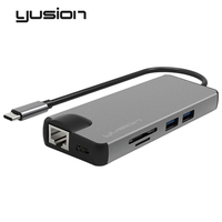 Yusion Type C USB C 3.1 to RJ45 Ethernet Port HDMI VGA Adapter HD 4K 1080P With USB3.0 SD/TF Card Slot Converters For Macbook